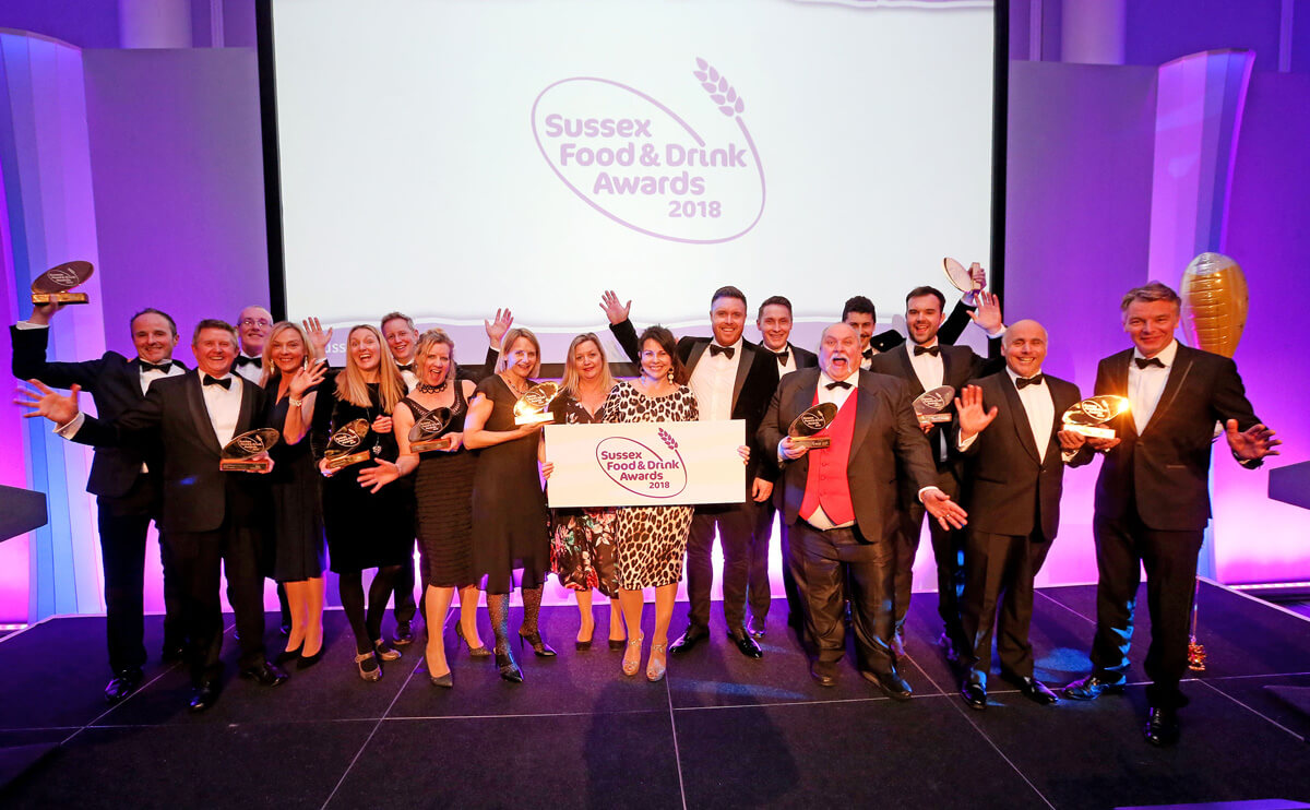 Winners of the Sussex Food and Drink Awards 2018 with actress Julie Graham, centre